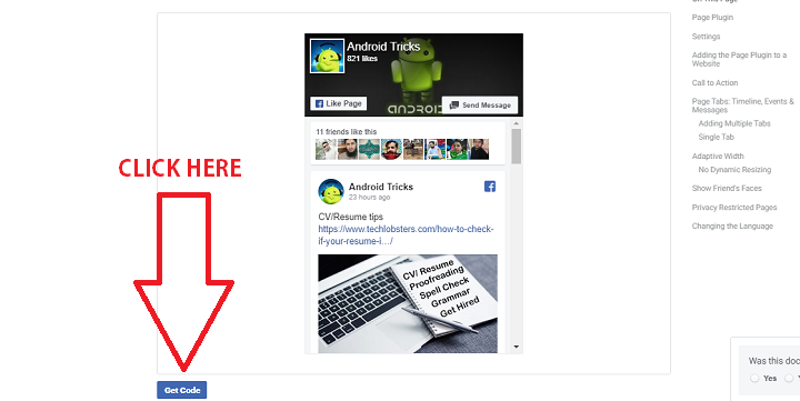 how to get facebook page html code